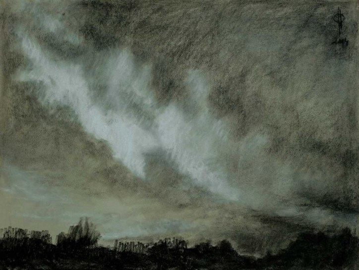 Sky 23 - charcoal and chalk on paper, 34.5x45.8cm, 2014
