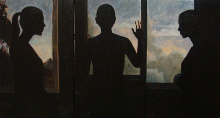 "Contre-jour III (triptych) - ""I Know Nothing Except the Fact of My Ignorance"", oil on linen, 78x144 cm, 2008"