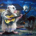 art-paintings-artcards-whimsical-rat-mouse-Halloween-guitar