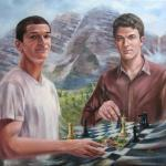 double portrait oil on canvas realist portraits surrealist scene