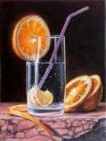 Sliced orange and soda classical realism oil painting still life of fruit