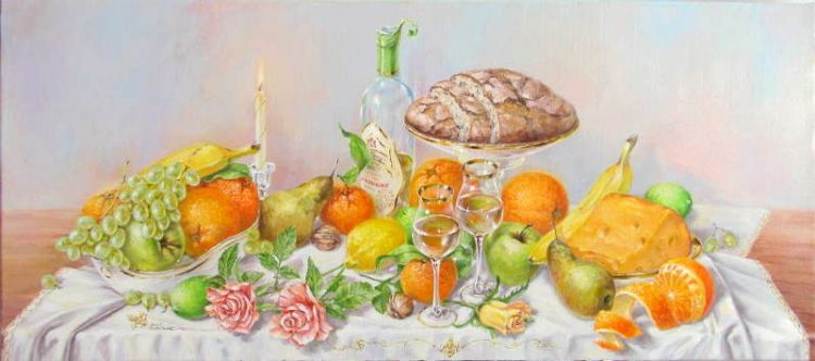 realist still life art oil painting gold fruit wine cheese roses