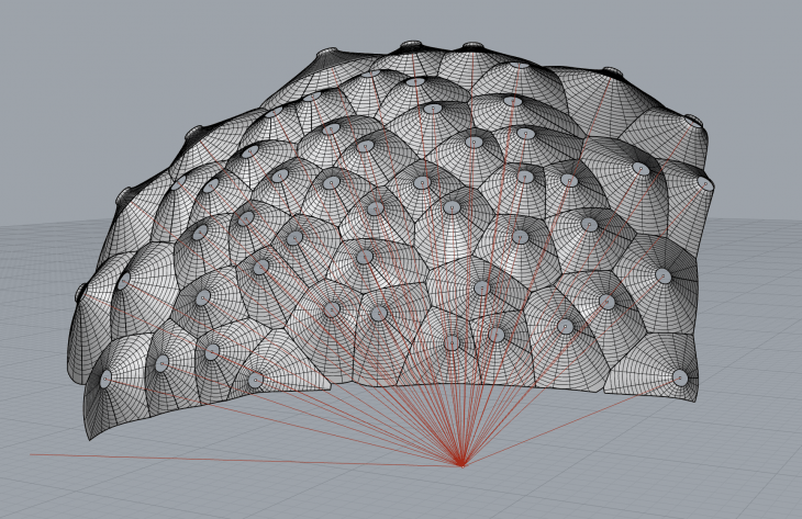 One of my early concept models for the Responsive Acoustic Surface (sketched in January 2011). At the time our construction system was unable to accomodate the variation in the geometry, so we instead choose to build the Responsive Acoustic Surface as a semi-circular wall – although the idea would form the basis for the Fabpod two years later.