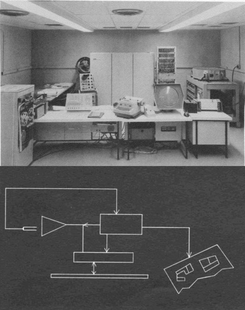 Itek's Electronic Drafting Machine (above) and sample drawing (below). The setup cost US$500,000 per seat in 1962 – approximately equivalent to US$3.5 million in 2012 (Weisberg 2008, ch. 6.6).