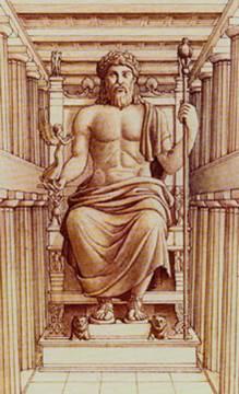 Ricostruzione statua di Zeus all'interno del tempio, Olimpia