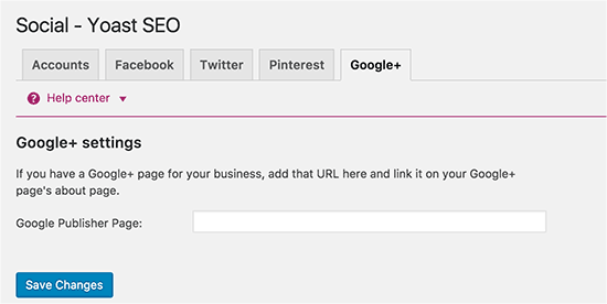 Yoast WordPress SEO - Google Plus settings