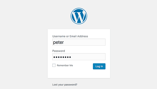 WordPress login screen
