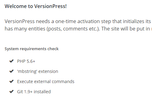 versionpress welcome screen including a list of system requirement checks