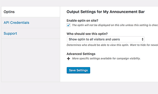 Enable optin for all users