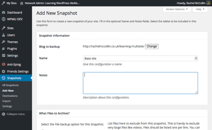 Adding a Snapshot - getting started