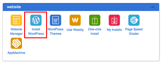 Install WordPress icon in Bluehost's cPanel dashboard