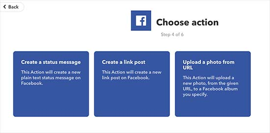 Facebook actions