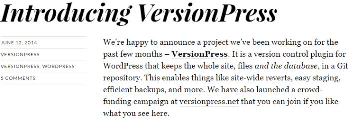 screenshot of blog post introducing versionpress