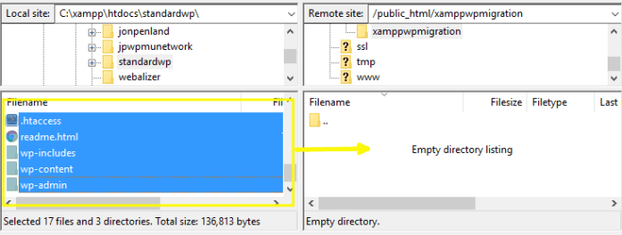 Filezilla interface demonstrating moving all directory contents from the local directory to the server
