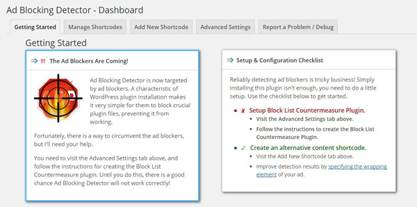 WordPress Ad Block Detector