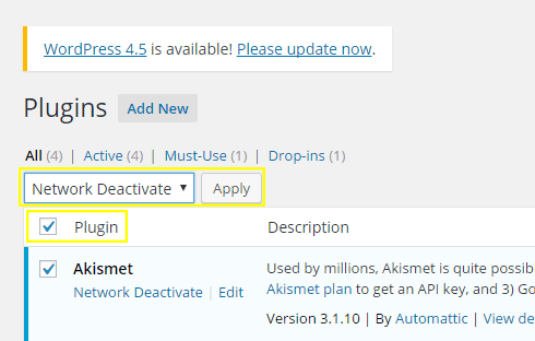 The plugin checkbox has been checked and the deactivate option has been selected in the drop down box.