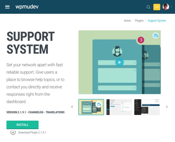 support system plugin