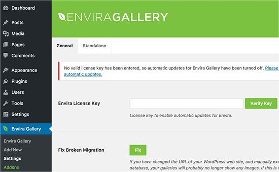 Add Envira Gallery license key