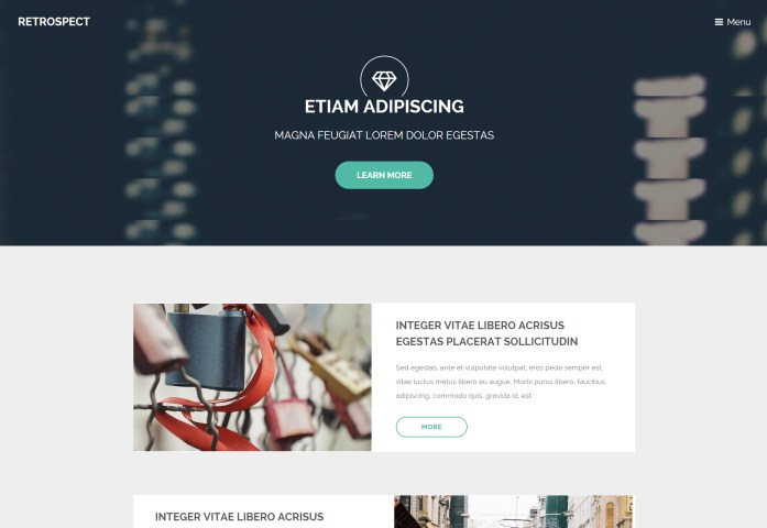 Retrospect: One Page HTML5 Template