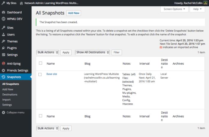 Snapshot plugin - list of snapshots