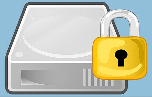 Hard drive with a padlock in front.