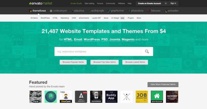 ThemeForest is by far the most popular WordPress theme marketplace with more than 6000 themes for sale.