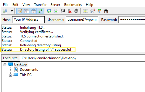 A successful connection message in FileZilla.