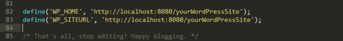 Define your site and home url as localhost:8080 in wp-config