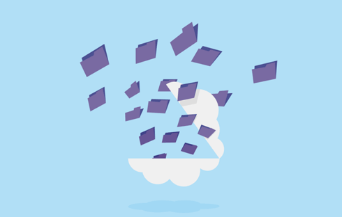 An illustration of a cloud opening and files are pouring out.