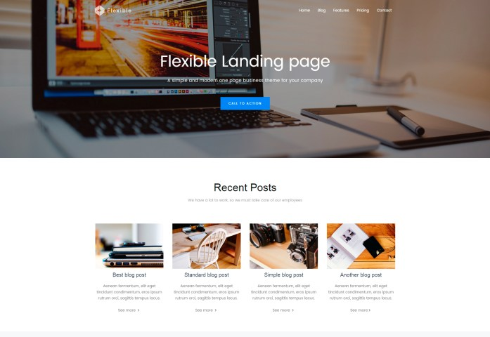 Flexible: Clean Bootstrap Landing Page