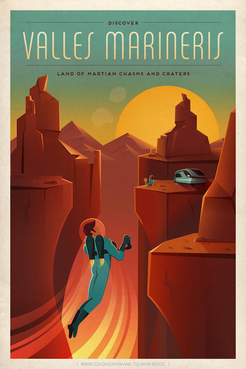 SpaceX, the space company by Elon Musk, has created some beautiful posters, advertising traveling to Mars as a tourist destination.