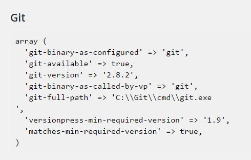 git information from versionpress system info scree