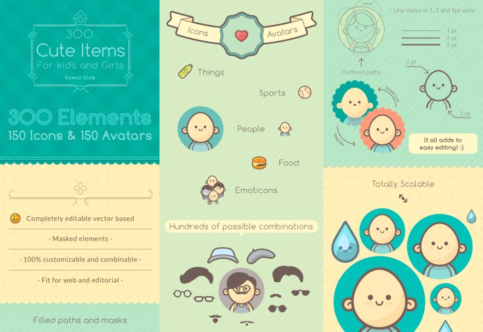 300 Cute Icons and Avatars in Kawaii Style