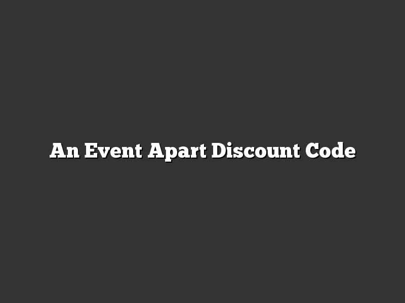 An Event Apart Discount Code