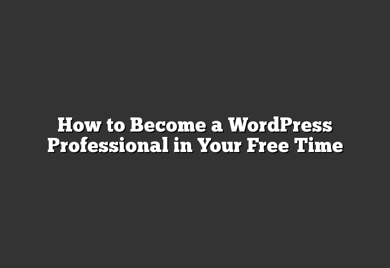 How to Become a WordPress Professional in Your Free Time