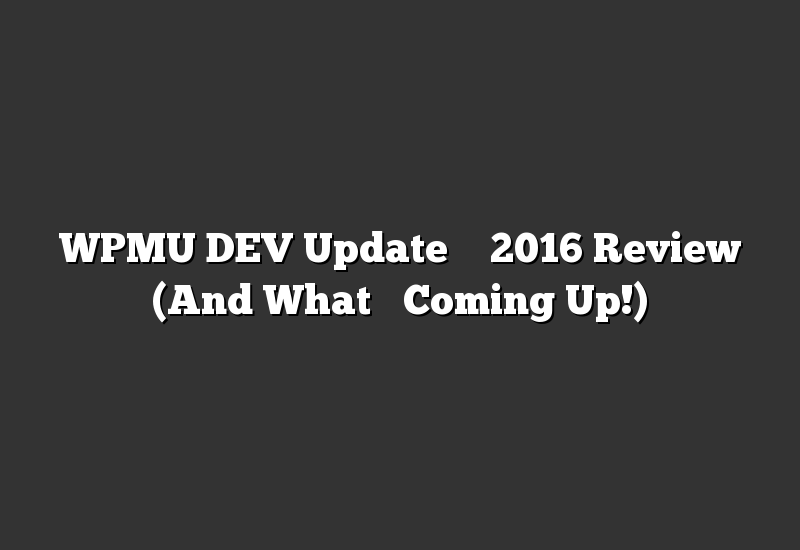 WPMU DEV Update – 2016 Review (And What's Coming Up!)