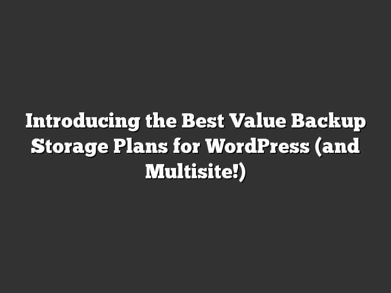 Introducing the Best Value Backup Storage Plans for WordPress (and Multisite!)
