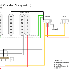 pickups wiring hsh autosplit with a standard 5 way switch with wiring diagram on 5 way switch with dimarzio humbucker pickup wiring [ 1193 x 843 Pixel ]