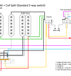 pickups wiring hsh autosplit with a standard 5 way switch with standard dimarzio humbucker wiring diagram [ 1193 x 843 Pixel ]