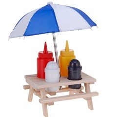 Folding Chair With Umbrella Desk Ikea Novelty Wooden Picnic Table Condiment Set - Sauce Holder Daniel James Products