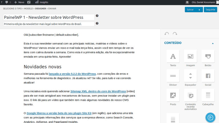 Newsletter simples no WordPress
