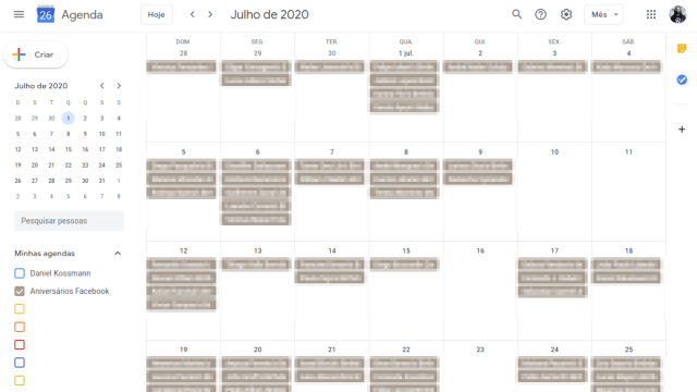 Tela do Google Calendar com a lista de aniversários do Facaebook