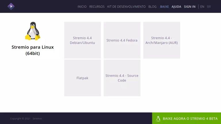 página de downloads do Stremio