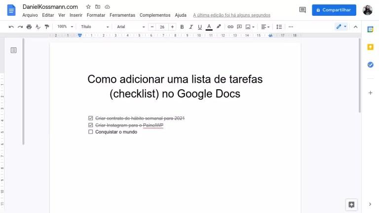 Como adicionar uma lista de tarefas (checklist) no Google Docs