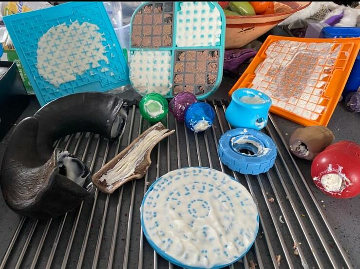 Image shows a variety of dog toys, chews and lickable matts with cheese spread, yoghurt and chicken wet food