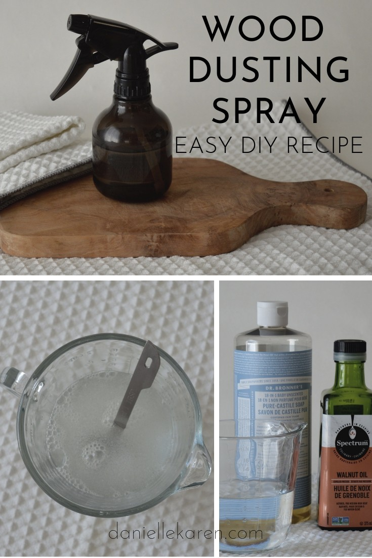 Easy DIY wood dusting spray recipe using only four ingredients.  Cleaning products can be all natural, inexpensive and easy to make.