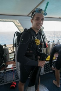 Nervous before first dive at Great Barrier Reef