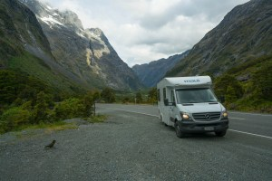 Our Campervan near the Pass to Milford Sound