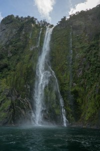 Scenic Waterfall at Milford Sound