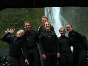 Divers at Milford Sound